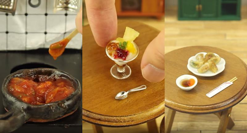 Tiny edible dishes featured in the YouTube channel, Yuka's Tiny Kitchen.