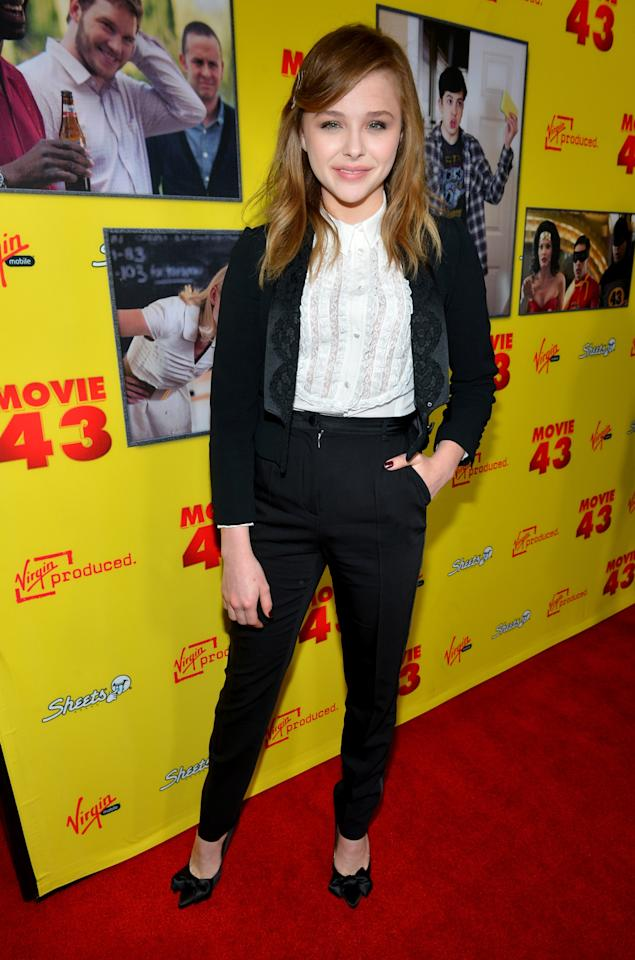 """HOLLYWOOD, CA - JANUARY 23:  Actres Chloe Grace Moretz attends Relativity Media's """"Movie 43"""" Los Angeles Premiere held at the TCL Chinese Theatre on January 23, 2013 in Hollywood, California.  (Photo by Alberto E. Rodriguez/Getty Images For Relativity Media)"""