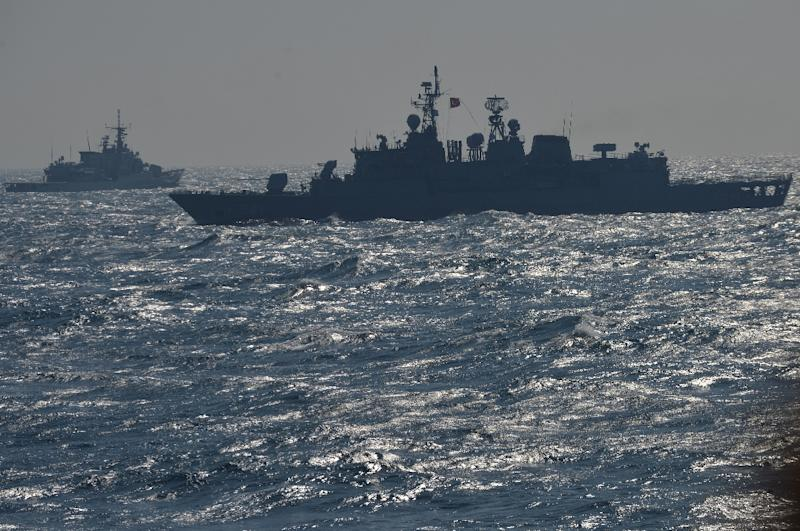 Ships from NATO's Standing Maritime Group-2 take part in a military drill on the Black Sea