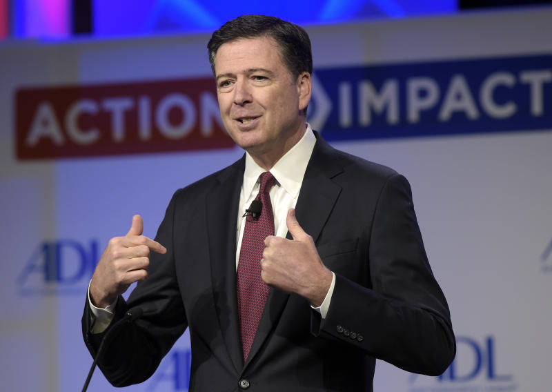 <p> FILE - In this May 8, 2017, file photo, then-FBI Director James Comey speaks to the Anti-Defamation League National Leadership Summit in Washington. The White House is disputing a report that President Donald Trump asked Comey to shut down an investigation into ousted national security adviser Michael Flynn. (AP Photo/Susan Walsh, File) </p>