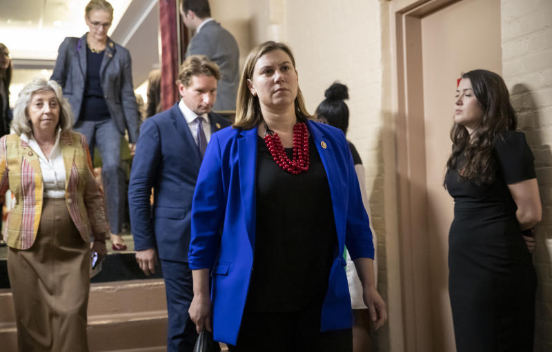 Rep. Elissa Slotkin, D-Mich., leaves a House Democratic Caucus meeting with Speaker of the House Nancy Pelosi, D-Calif., where Pelosi was persuaded to launch a formal impeachment inquiry against President Donald Trump, at the Capitol in Washington, Tuesday, Sept. 24, 2019. Rep. Slotkin is one of several freshmen Democrats with national security backgrounds who wrote an op-ed letter to the Washington Post calling for Trump's impeachment. (AP Photo/J. Scott Applewhite)