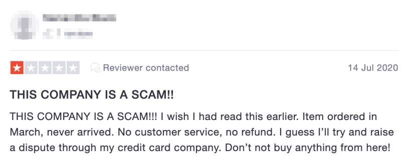 Without proper recourse or contact provided by Fishpond, customers have been left with a sense of being scammed. Source: TrustPilot