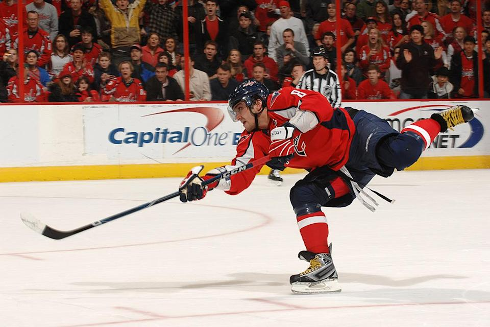 WASHINGTON - DECEMBER 26: Alex Ovechkin #8 of the Washington Capitals takes a shot during a NHL hockey game against the New Jersey Devils on December 26, 2009 at the Verizon Center in Washington, DC. (Photo by Mitchell Layton/NHLI via Getty Images)