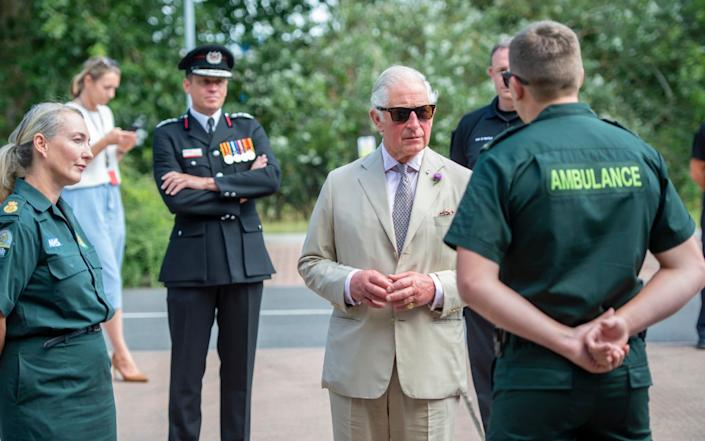 The Prince of Wales during a visit to Middlemoor Fire Station in Devon last week, where he met Emergency Service Personnel from the local Fire Department, - Paul Grover/Daily Telegraph