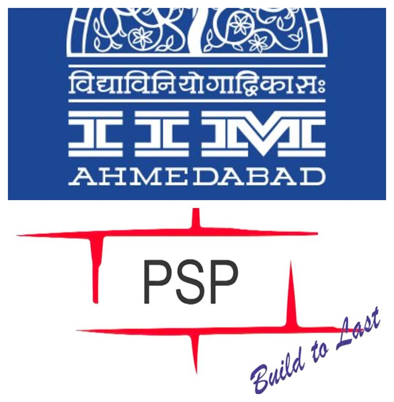 Collage of brand logos of the IIM-A (in blue) and PSP Projects Ltd (in red and black). The contractor for building the new IIM-A building is PSP Projects Limited and IIM-A is the principal employer. Both bear responsibility for the plight of the workers, the notice sent by advocate Anandvardhan Yagnik says. (Photo: HuffPost India )