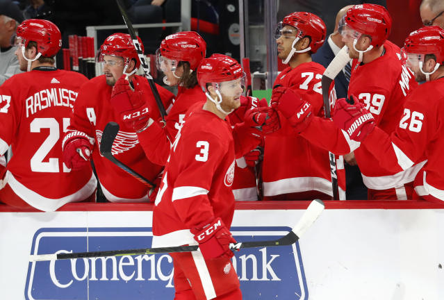 Detroit Red Wings defenseman Nick Jensen (3) celebrates his goal in the first period of an NHL hockey game against the Toronto Maple Leafs, Thursday, Oct. 11, 2018, in Detroit. (AP Photo/Paul Sancya)