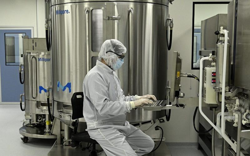 A scientist works at a lab in Buenos Aires, Argentina, that will manufacture the University of Oxford and AstraZeneca vaccine for Latin America - JUAN MABROMATA / AFP/A scientist works at a lab in Buenos Aires, Argentina, that will manufacture the University of Oxford and AstraZeneca vaccine for Latin America