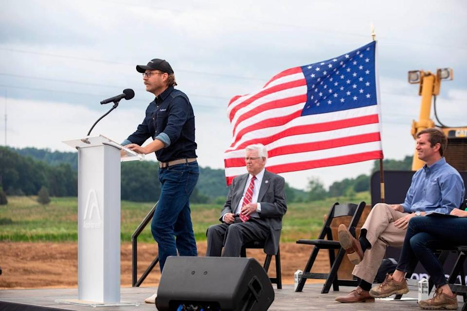 AppHarvest CEO Jonathan Webb speak during a ceremony at the site of the company's new greenhouse facility near Somerset, Ky., Monday, June 21, 2021. The company announced that facility and another in Morehead. The two greenhouses are part of AppHarvest's goal to have 12 indoor farms by the end of 2025.