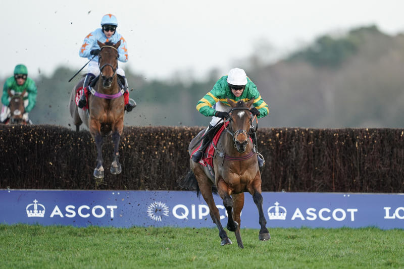 Barry Geraghty riding Defi Du Seuil to win Matchbook Clarence House Chase from Un De Sceaux at Ascot