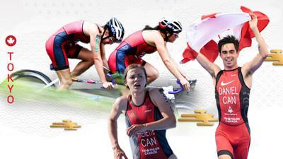 Canada will be represented by four athletes in the sport of Para triathlon at the Tokyo 2020 Paralympic Games (L-R): Jessica Tuomela, Marianne Hogan, Kamylle Frenette, and Stefan Daniel. (CNW Group/Canadian Paralympic Committee (Sponsorships))