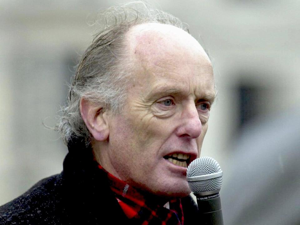 <p>Gibson at a rally in 2003</p> (PA)