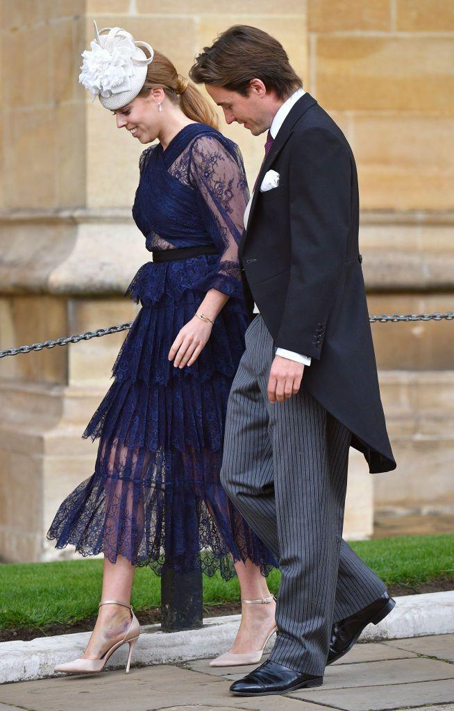 <p>The duo giggled as they walked into St. George's Chapel for Lady Gabriella Windsor and Thomas Kingston's wedding.</p>
