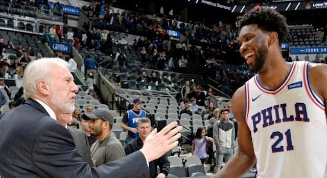 """It's no surprise that Spurs coach Gregg Popovich reportedly made a pitch for <a class=""""link rapid-noclick-resp"""" href=""""/nba/teams/phi"""" data-ylk=""""slk:76ers"""">76ers</a> star <a class=""""link rapid-noclick-resp"""" href=""""/nba/players/5294/"""" data-ylk=""""slk:Joel Embiid"""">Joel Embiid</a>. (Getty Images)"""