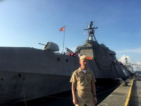FILE PHOTO: Chief of U.S. Naval Operations Admiral John Richardson poses in Singapore