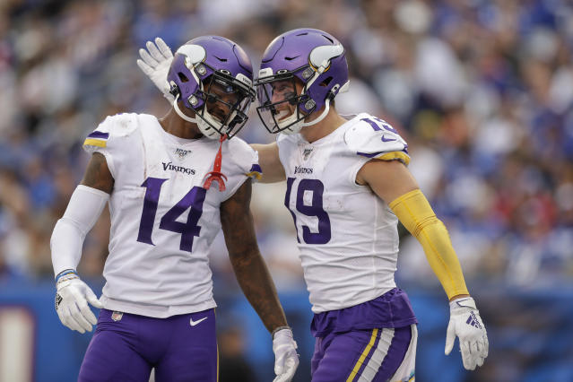 Things got a little better in Minnesota on Sunday for wideouts Stefon Diggs and Adam Thielen. (AP)