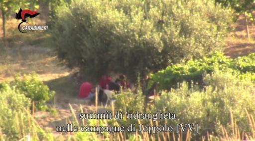 Police released video showing an undated meeting of 'Ndrangheta bosses close to Vibo Valentia