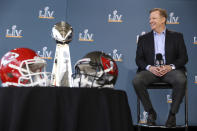 NFL football commissioner Roger Goodell speaks at a press conference ahead of Super Bowl 55, Thursday, Feb. 4, 2021, in Tampa, Fla. (Perry Knotts/NFL via AP)