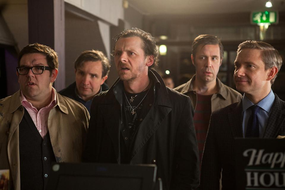 """FILE - This film publicity image released by Focus Features shows, from left, Nick Frost as Andy, Eddie Marsan as Peter, Simon Pegg as Gary, Paddy Considine as Steven, and Martin Freeman as Oliver in """"The World's End."""" (AP Photo/Focus Features, Laurie Sparham, File)"""