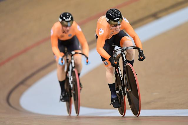 Glasgow World Cup: Kyra Lamberink and Shanne Braspennincx of The Netherlands ride in the Womens Team Sprint Qualifying