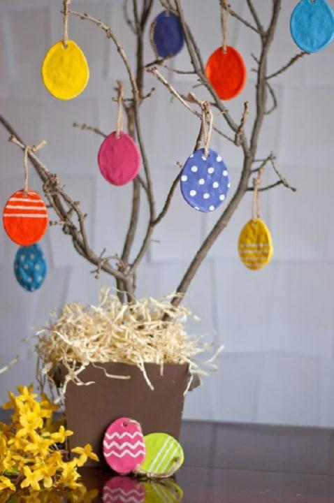 Involve the whole fam in your Easter decor craft sesh with egg-shaped salt dough ornaments.