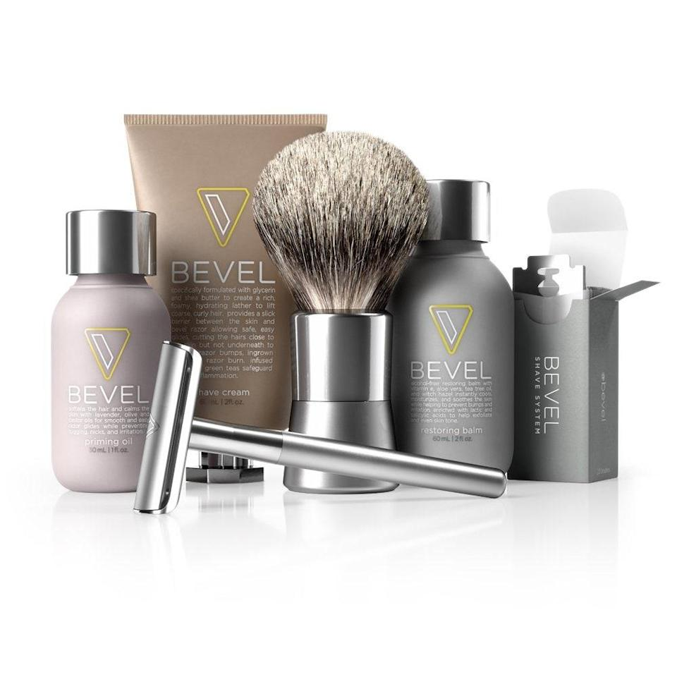 "<p>Bevel's Starter Shave Kit has everything you need to ensure a close shave without irritation. The <a href=""https://www.allure.com/review/oui-the-people-the-single-sensitive-skin-razor?mbid=synd_yahoo_rss"" rel=""nofollow noopener"" target=""_blank"" data-ylk=""slk:single-blade razor"" class=""link rapid-noclick-resp"">single-blade razor</a> only cuts hair above your skin's surface, instead of penetrating underneath, which reduces the risk of razor ingrown hairs and razor bumps. The badger brush, priming oil, shave cream, and restoring balm ensure that skin stays nourished and soothed with ingredients such as tea tree oil and <a href=""https://www.allure.com/gallery/best-aloe-skin-care-products?mbid=synd_yahoo_rss"" rel=""nofollow noopener"" target=""_blank"" data-ylk=""slk:aloe vera"" class=""link rapid-noclick-resp"">aloe vera</a>.</p> <p><strong>$90</strong> (<a href=""https://www.amazon.com/Bevel-Shave-System-Starter-Clinically/dp/B00IT8K564"" rel=""nofollow noopener"" target=""_blank"" data-ylk=""slk:Shop Now"" class=""link rapid-noclick-resp"">Shop Now</a>)</p>"