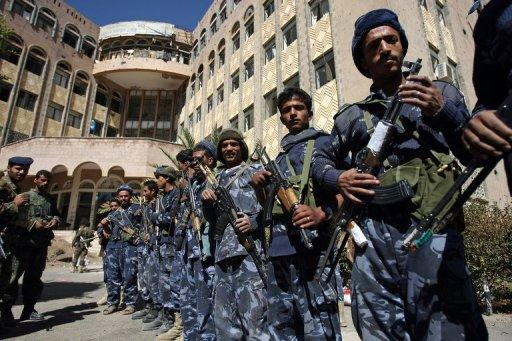 Yemeni security forces pictured in the country's capital Sanaa on December 29, 2011