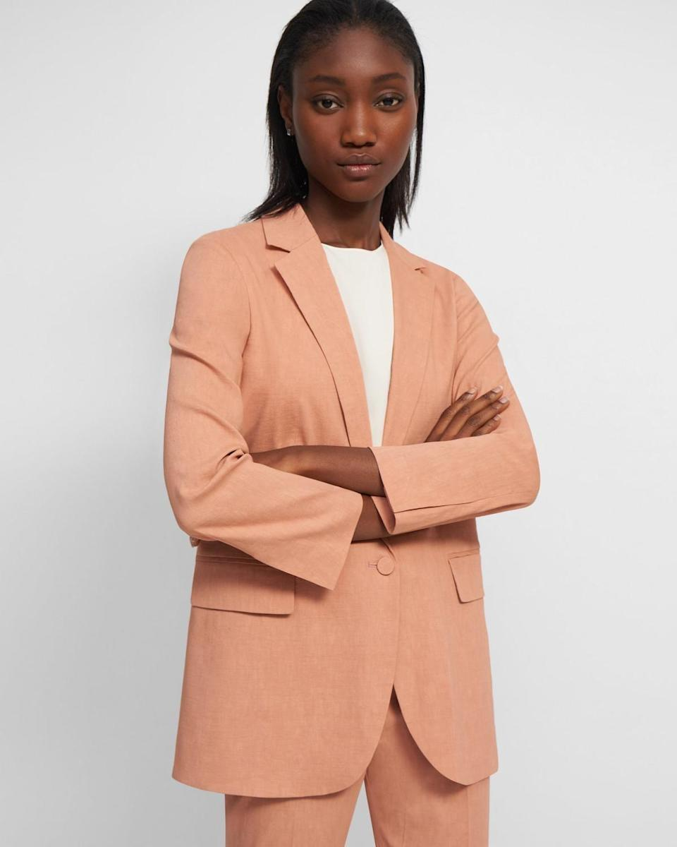 <p>Good Linen is Theory's most environmentally responsible collection to date. The pieces are made from certified organic linen, tree-friendly bio-viscose. The brand is also currently on track to count 50 percent of raw materials it uses as being sustainable by 2020. </p> <p><strong>What We'd Buy</strong>: <span>Theory Good Linen Casual Blazer</span> ($435)</p>