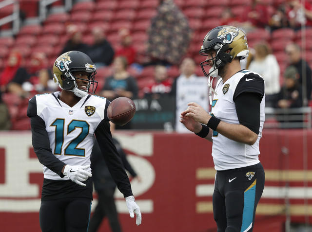 Dede Westbrook and Blake Bortles should keep the good times rolling in Week 5 at Kansas City. (AP Photo/Tony Avelar)