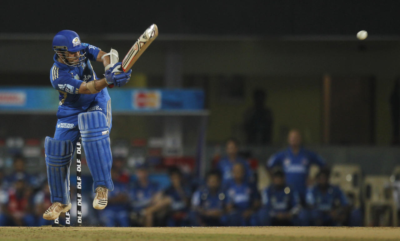 Sachin Tendulkar of Mumbai Indians plays a shot during the 2nd Qualifier between Royal Challengers Bangalore and Mumbai Indians in Chennai, India, Friday, May 27, 2011. The winner of this match will play Chennai Super Kings in the final of IPL 2011.