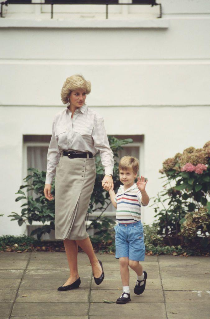 <p>Princess Diana and a young Prince William both wore striped shirts for Prince Harry's first day of nursery school. </p>