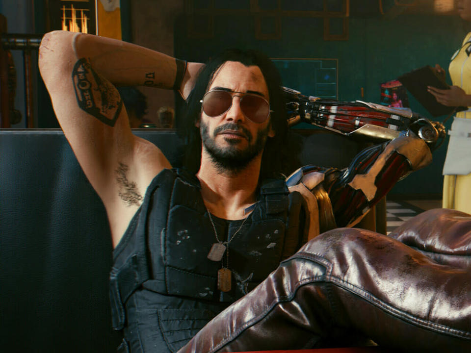 "Keanu Reeves als Johnny Silverhand in ""Cyberpunk 2077"" (Bild: CD Projekt Red)"