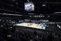 Baylor and Houston warmup before a men's Final Four NCAA college basketball tournament semifinal game, Saturday, April 3, 2021, at Lucas Oil Stadium in Indianapolis. (AP Photo/Darron Cummings)