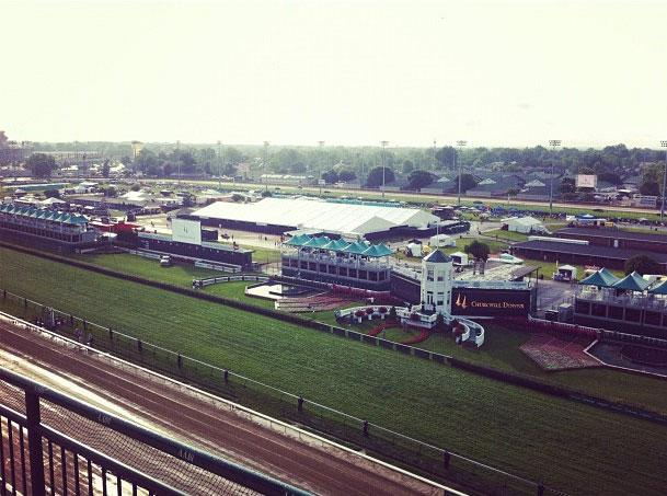 View from the top of the in the track at the 138th running of the Kentucky Derby at Churchill Downs in Louisville, Kentucky, May 5, 2012.