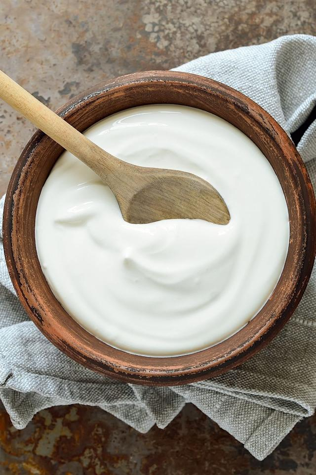 <p>Pick plain, unsweetened Greek yogurt and skyr when you're feeling under the weather. Protein-rich foods (2/3 cup of yogurt has about 20 grams!) are key to helping the cells of your immune system regenerate. I also recommend choosing non-fat or low-fat kinds — not because of the calorie content, but because colds have a tendency to zap appetite. Since fat is filling, I'd rather you get enough protein by eating as much of that yogurt as you can. <br></p>