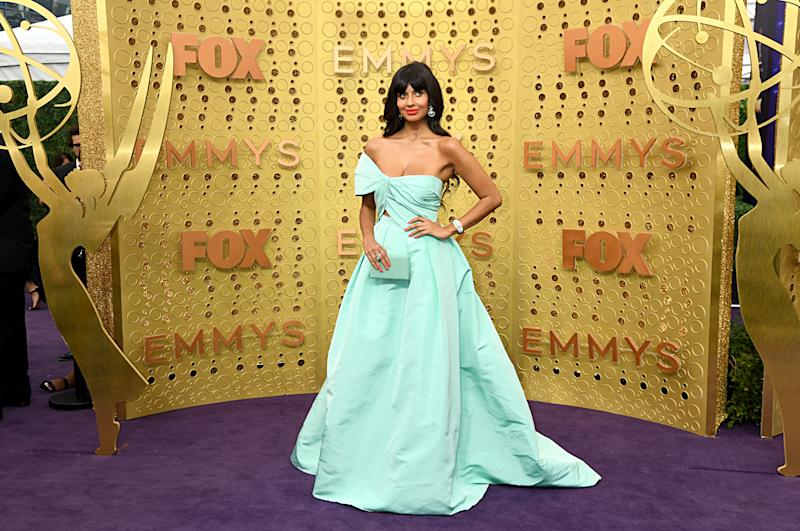 Jameela Jamil is a monochromatic vision at the 71st annual Emmy's. (Photo: Getty Images)
