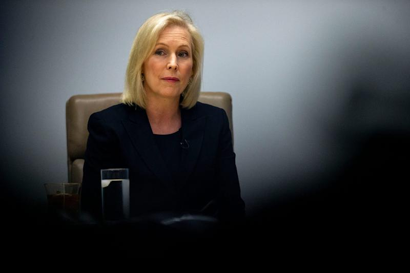 New York Sen. Kirsten Gillibrand meets with the Des Moines Register's editorial board on Monday, June 10, 2019, at the Register's office in Des Moines.