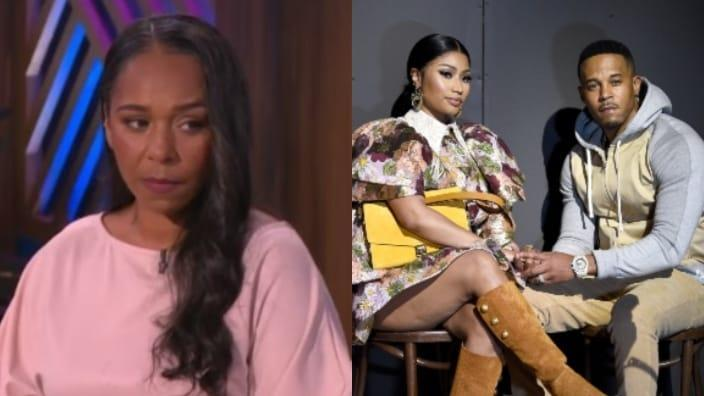 """Jennifer Hough appeared on """"The Real"""" Wednesday (left) with her lawyer and talked about Nicki Minaj and Kenneth Petty (right) allegedly harassing her. (Photos: Warner Bros. and Dimitrios Kambouris/Getty Images)"""
