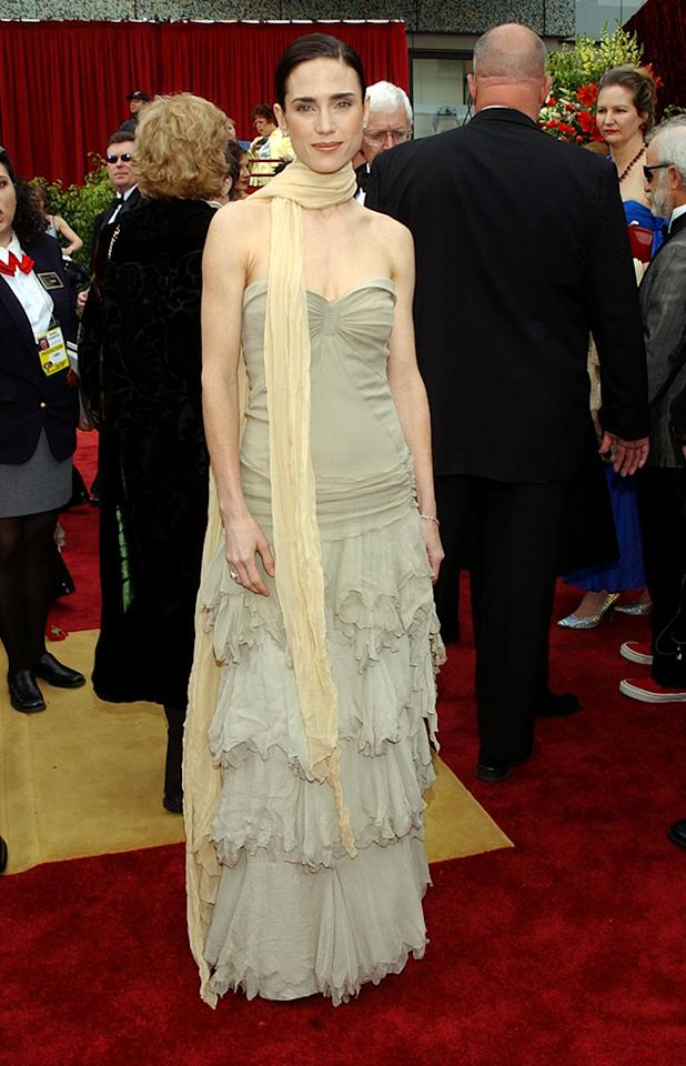 """Jennifer Connelly, 2002. The good news is, she won the best-supporting-actress award for """"A Beautiful Mind."""" The bad news is, she commemorated the moment in Balenciaga beige. There have been some kudos: InStyle UK admired the layered drapes, but People disparaged the layers as """" shredded ."""" And lest you think it's a difference of people on opposite sides of the pond, the BBC described the color as """" pale dung ."""""""