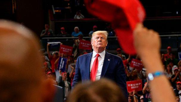 PHOTO: President Donald Trump speaks during a rally at the Amway Center in Orlando, Fla., to officially launch his 2020 campaign on June 18, 2019. (Mandel Ngan/AFP/Getty Images, FILE)