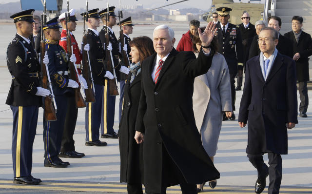 Mike Pence waves upon his arrival at Osan Air Base in Pyeongtaek, South Korea on Thursday. (AP)