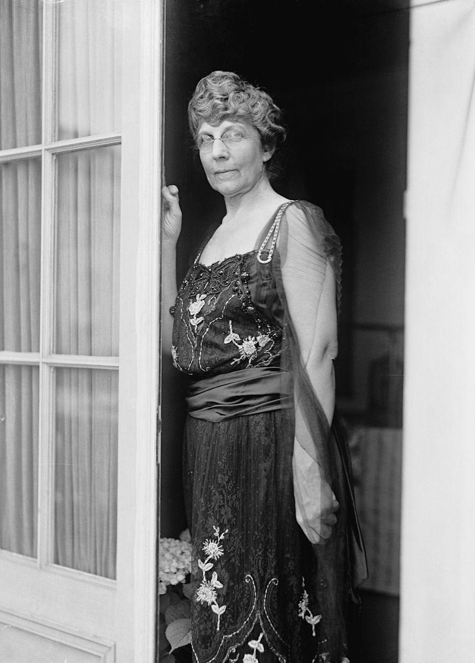 "<p>Florence Harding often wore heavily-<a href=""https://u.osu.edu/clotheslines/2016/10/22/first-lady-fashion-part-i-florence-harding/"" rel=""nofollow noopener"" target=""_blank"" data-ylk=""slk:beaded dresses"" class=""link rapid-noclick-resp"">beaded dresses</a> and fur pieces. This dress, pictured here, is so heavy that the dress has to be laid down sideways to avoid ruin when not on display. Crazy, I know!</p>"