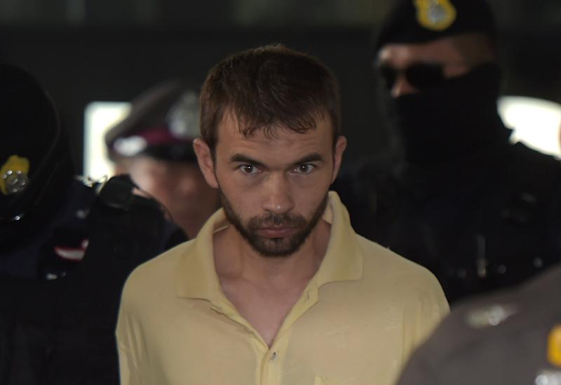 Adem Karadag was charged over his alleged role in the shrine bombing after he was caught in a flat in a Bangkok suburb with bomb-making paraphernalia and dozens of fake Turkish passports (AFP Photo/Pornchai Kittiwongsakul)