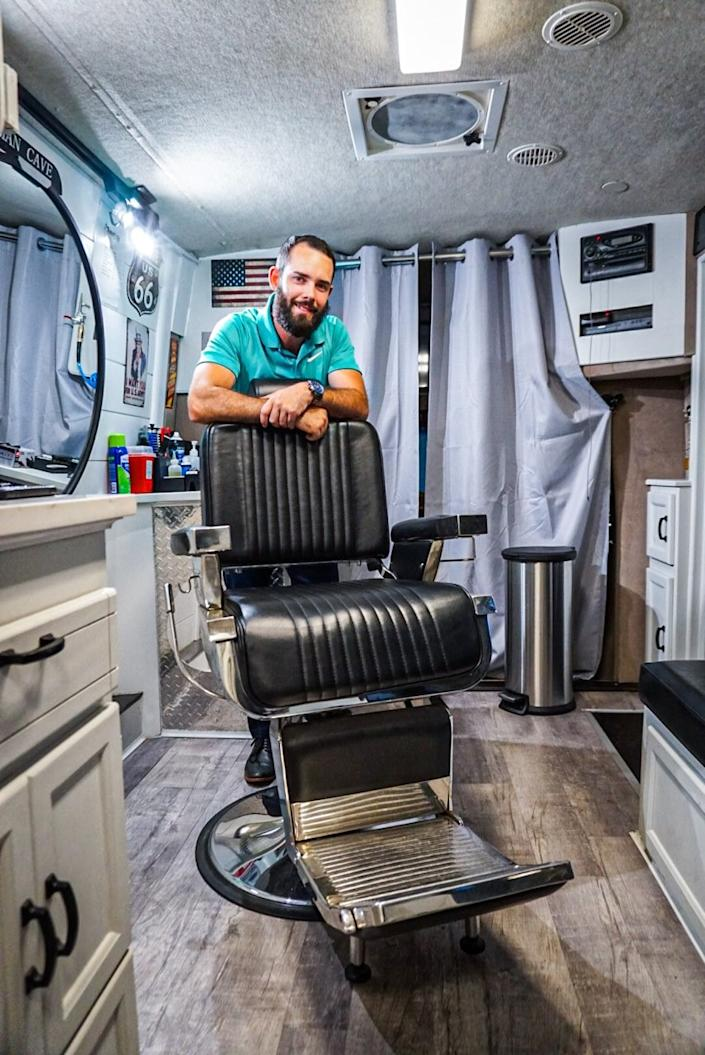 Beverly High alumnus Eric Cagney opened the Mobicuts mobile barber shop four months into the coronavirus health crisis in June. (Courtesy Eric Cagney)