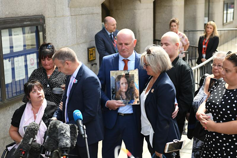 Family members of victims of the Manchester Arena bombing, outside the Old Bailey in London, after terrorist Hashem Abedi was handed a record-breaking 55-year minimum term.