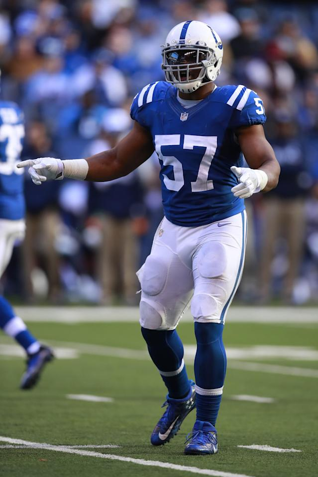 Indianapolis Colts inside linebacker Jon Bostic (57) lines up against the Tennessee Titans during an NFL football game, Sunday, Nov. 26, 2017, in Indianapolis. The Titans won the game 20-16. (Jeff Haynes/AP Images for Panini)