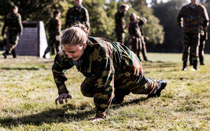 Belgian Crown Princess Elisabeth takes part in a military initiation training at Elsenborn Belgian army camp in Butgenbach - BELGIAN ROYAL PALACE