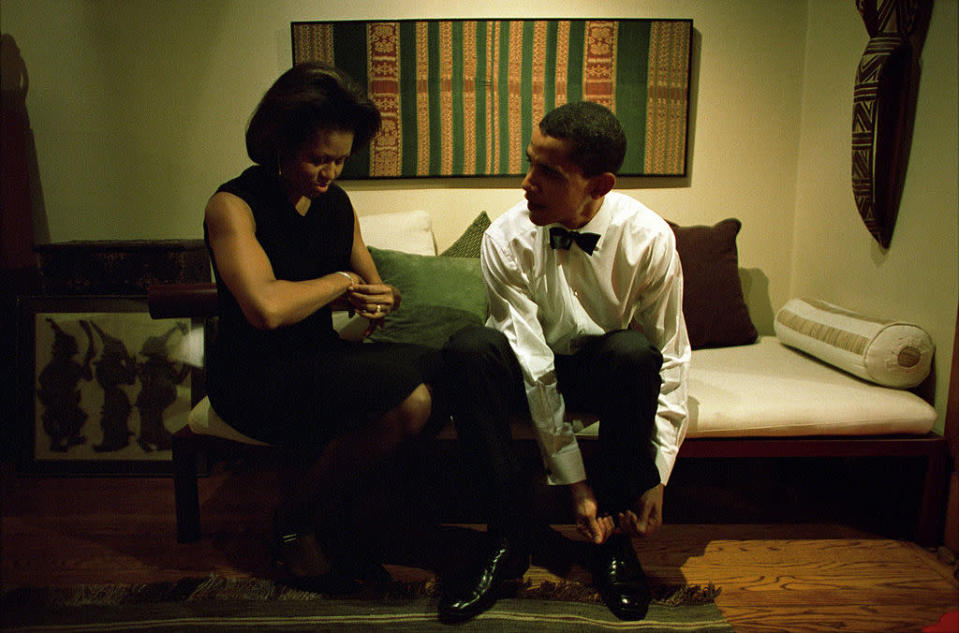 <p>Getting ready at home back when Obama was a Democratic Senator [Photo: Charles Ommanney/Getty] </p>