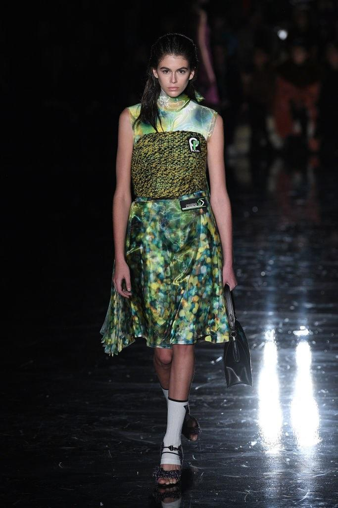 Kaia Gerber walks the runway at the Prada Fall 2018 show during Milan Fashion Week on February 22, 2018 in Milan, Italy. Photo courtesy Getty Images.