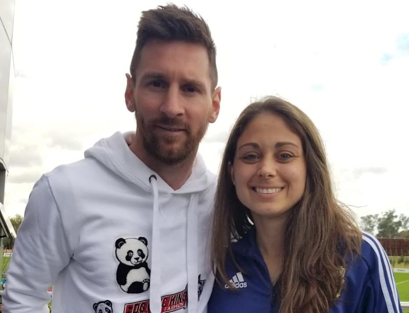 American-born Argentina national teamer Natalie Juncos joined Lionel Messi and other men's and women's players at a luncheon before their respective tournaments this summer. (Courtesy Natalie Juncos)