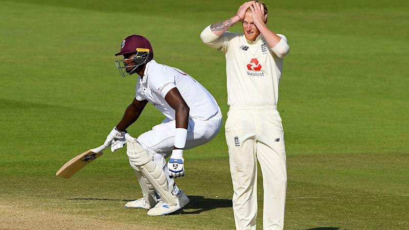 Ben Stokes, pictured here reacting as Jason Holder takes a run in the first Test.
